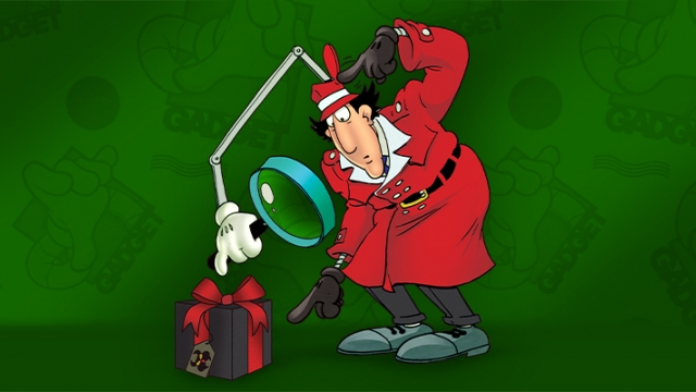 An illustration of a detective, wearing a red hat and jacket, is leaning over looking at a package on the floor. There is a long hand holding a magnifying glass popping out of his hat and holding it close to his face. Behind him is a green background.