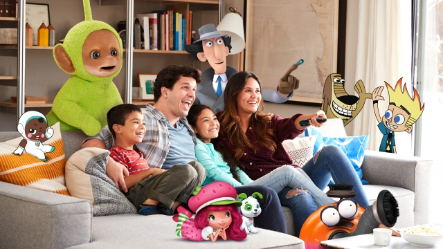 A fair-skinned family sitting on the couching, laughing, and watching TV. They are surrounded by illustrations of various show characters.