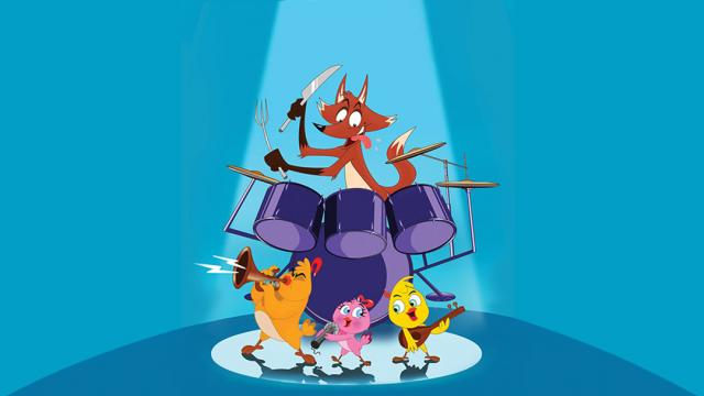 animated fox playing the drums. 2 birds birds playing the trumpet and lute. 1 bird singing