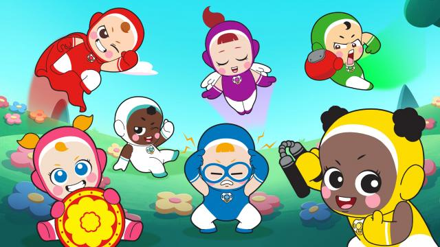 7 superhero babies of various ethnicities flying around in a garden